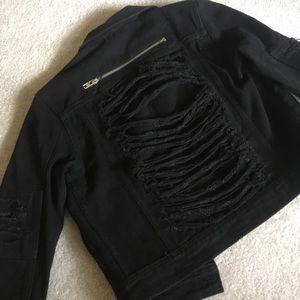 NaNa Jackets & Coats - Black distressed Denim Jacket Small